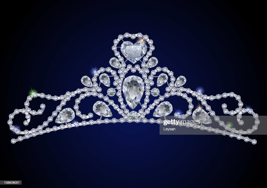 Sparkling diamond gem Tiara on a royal blue background