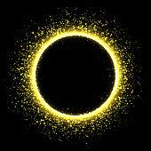 Sparkling golden satrdust solar eclipse