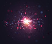 Sparkling light effects, bokeh, flash light and glitter particles