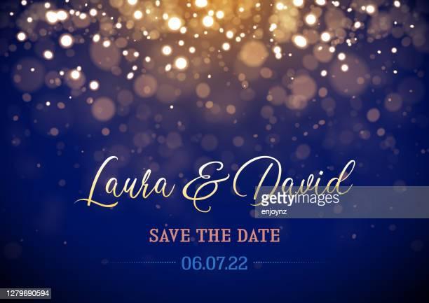 illustrazioni stock, clip art, cartoni animati e icone di tendenza di luci scintillanti invito di nozze - traccia di luce