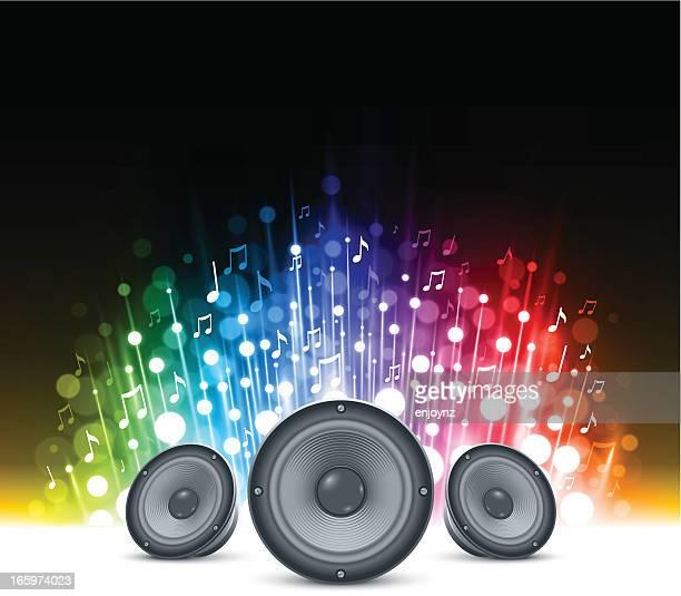illustrazioni stock, clip art, cartoni animati e icone di tendenza di brillante sfondo di musica - altoparlante hardware audio