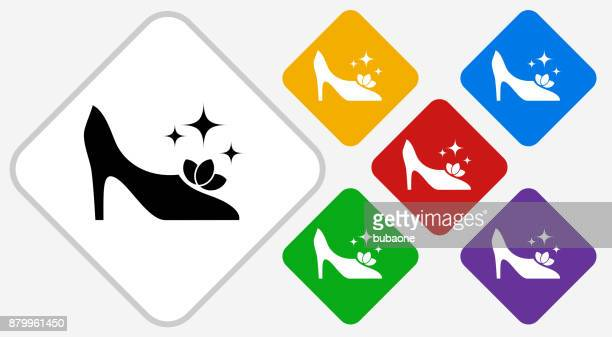 Sparkling Shoes Color Diamond Vector Icon