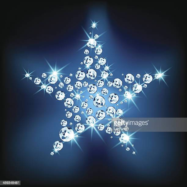 stockillustraties, clipart, cartoons en iconen met sparkling star - diamant