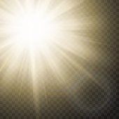 Sparkling Sun Rays With Flare Effect On Transparent Background.