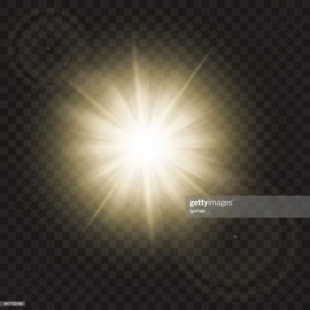 Sparkling sun rays with hot spot and flares with sun flare effect isolated on vector background .