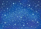 Sparkling twinkling Stars on blue background. Christmas Abstract (Xmas) galaxy