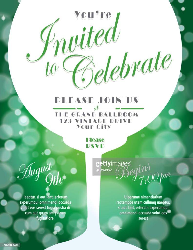 Sparkling wine tasting invitation template design green background sparkling wine tasting invitation template design green background vector art stopboris Choice Image
