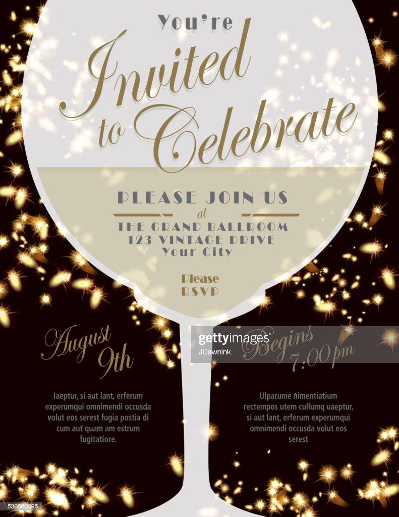 sparkling wine tasting invitation template design lights