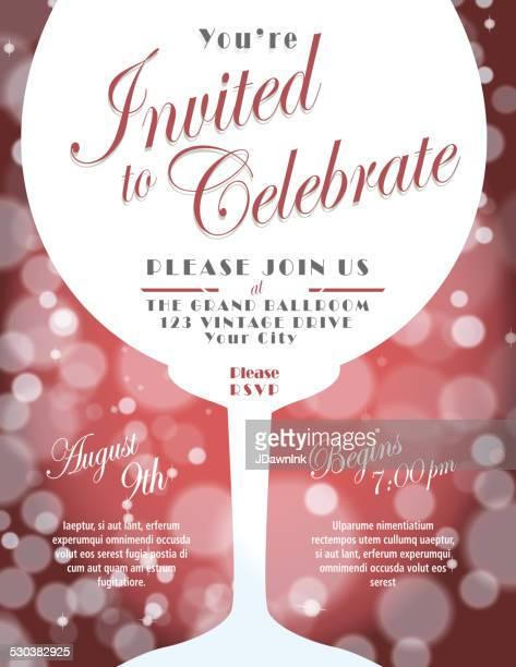 Sparkling Wine Tasting Invitation Template Design Blue Background ...