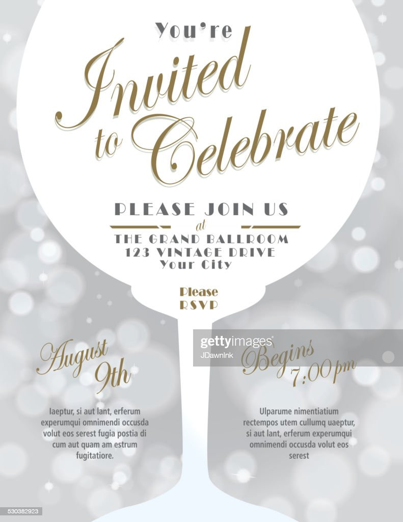 Sparkling Wine Tasting Invitation Template Design Silver Background