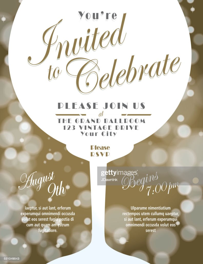Sparkling Wine Tasting Invitation Template Design With Bokeh