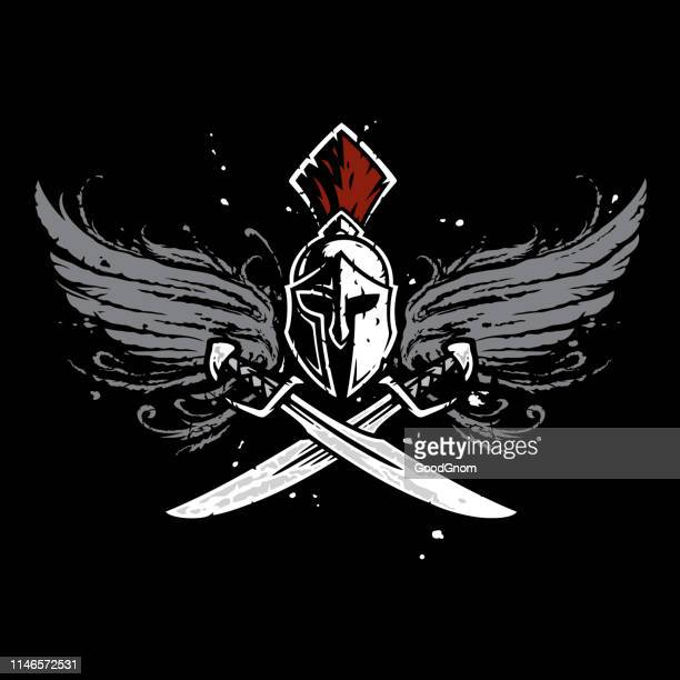 sparta coat of arms - graphic t shirt stock illustrations