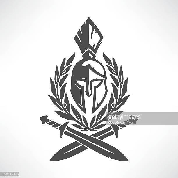 sparta coat of arms - gladiator stock illustrations