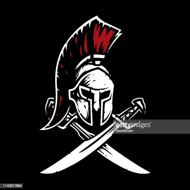 sparta emblem - gladiator stock illustrations, clip art, cartoons, & icons