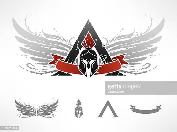 sparta emblem - sparta greece stock illustrations, clip art, cartoons, & icons