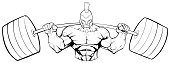 Spartan Gym Mascot Grit Line Art