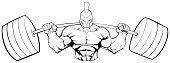 Spartan Gym Mascot Line Art