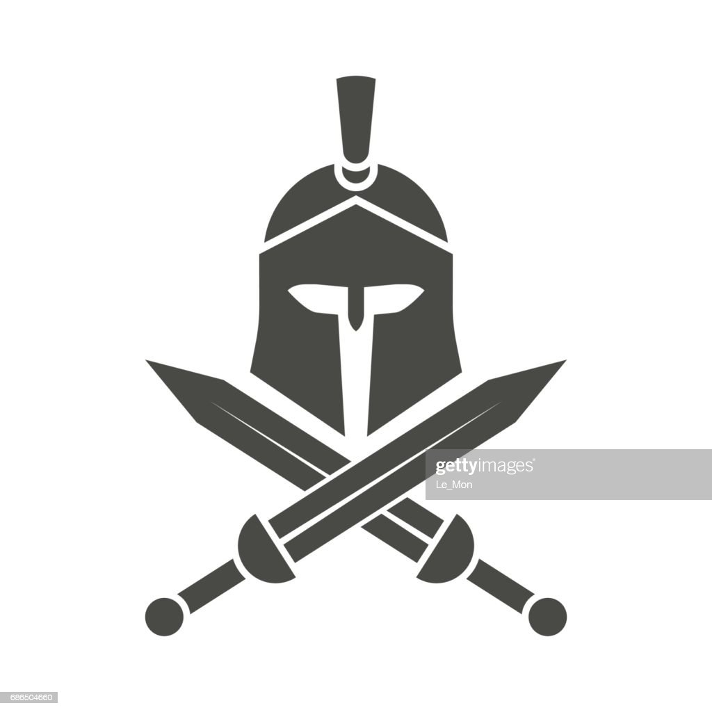 Spartan helmet. Crossed swords. Greek warrior.