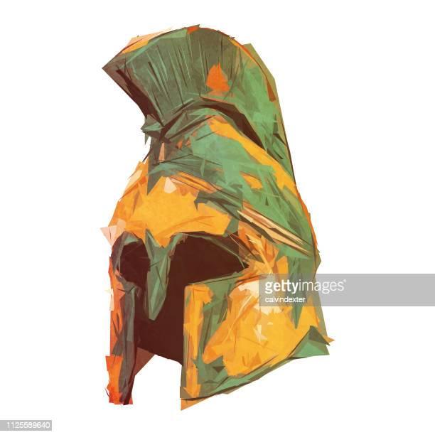 spartan helmet - gladiator stock illustrations, clip art, cartoons, & icons
