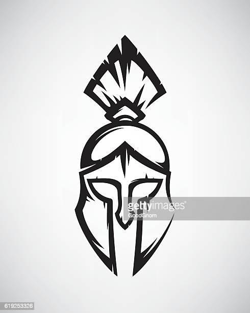 spartan helmet - sparta greece stock illustrations, clip art, cartoons, & icons