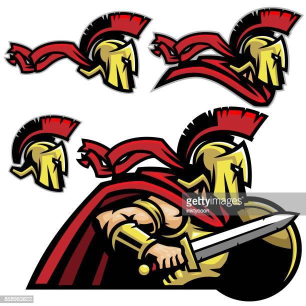 ilustrações, clipart, desenhos animados e ícones de pacote de esportes espartano trojan - roman