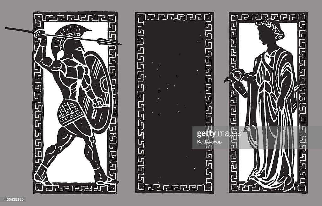 Spartan Warrior and Water Pourer, Greek Background