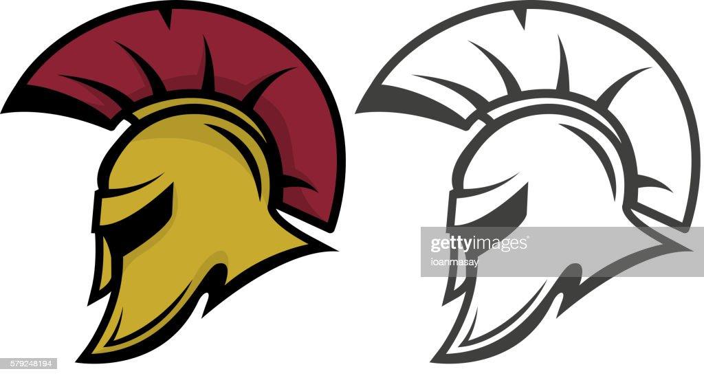 Spartan warrior helmet. Sports team emblem template.