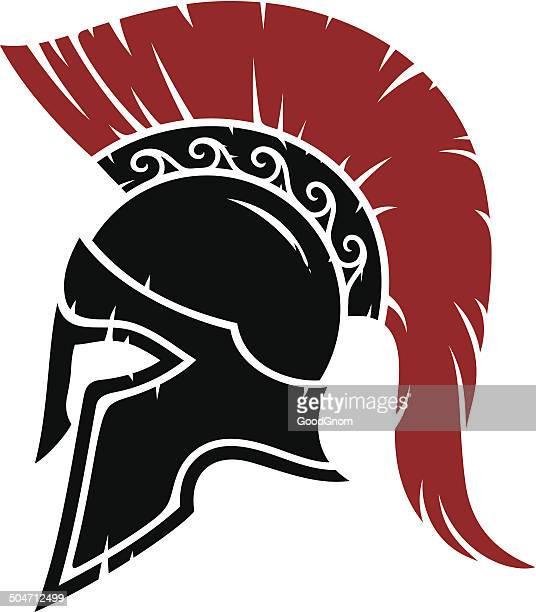 spartan warrior helmet - gladiator stock illustrations