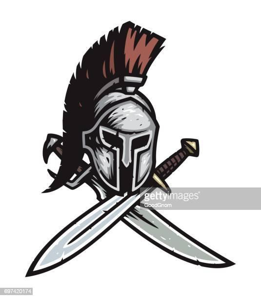 spartan warrior helmet - sparta greece stock illustrations, clip art, cartoons, & icons