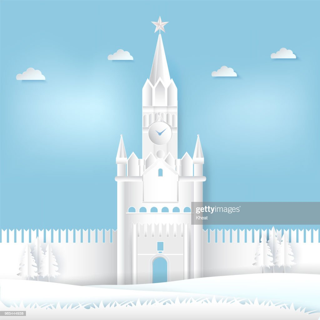 Spasskaya tower of Kremlin, Moscow in Russia Paper cut, Paper art illustration background
