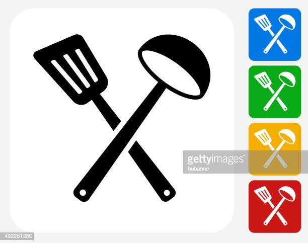 spatula and scoop icon flat graphic design - scoop shape stock illustrations, clip art, cartoons, & icons
