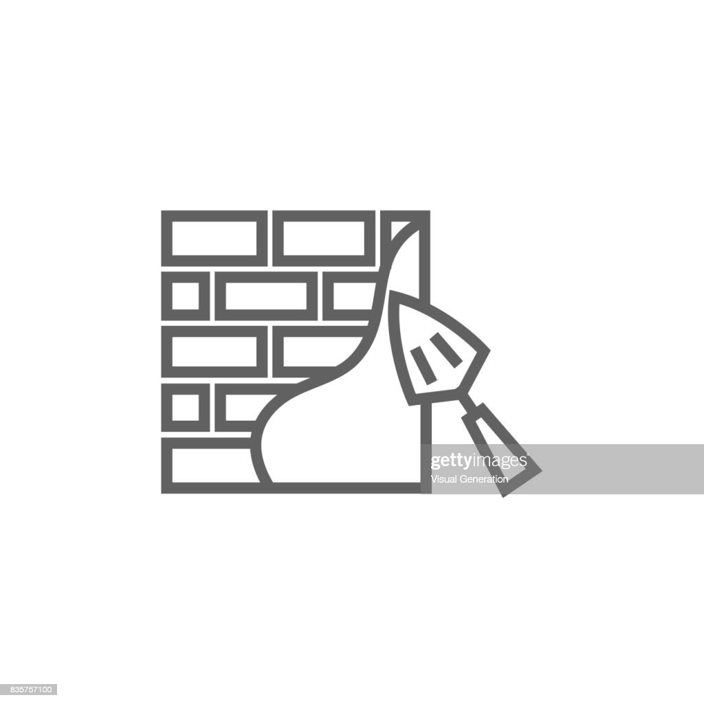 Spatula with brickwall line icon