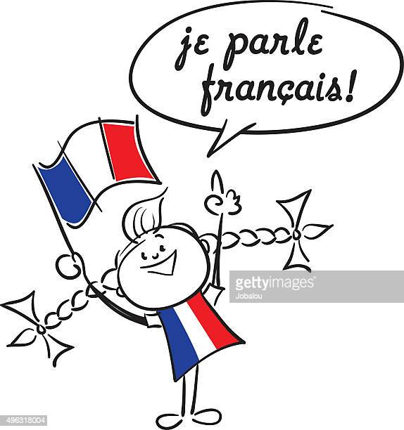 i speak french - french culture stock illustrations