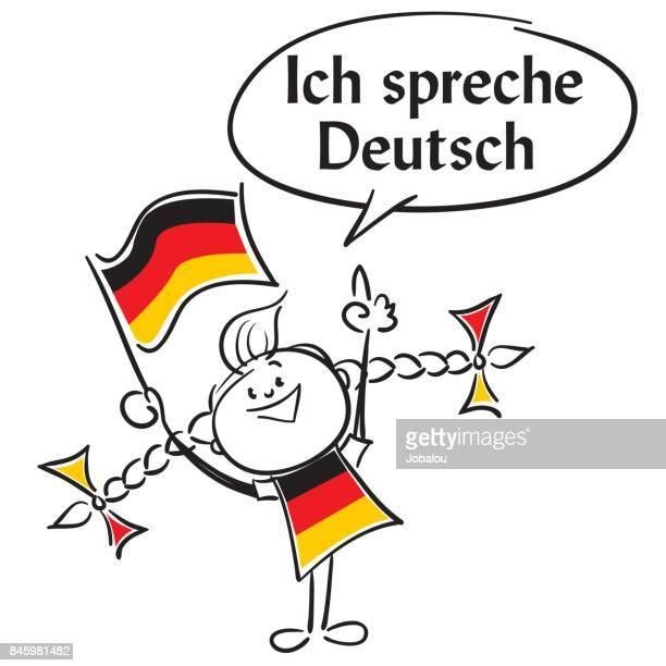ich spreche deutsch - deutsche flagge stock-grafiken, -clipart, -cartoons und -symbole