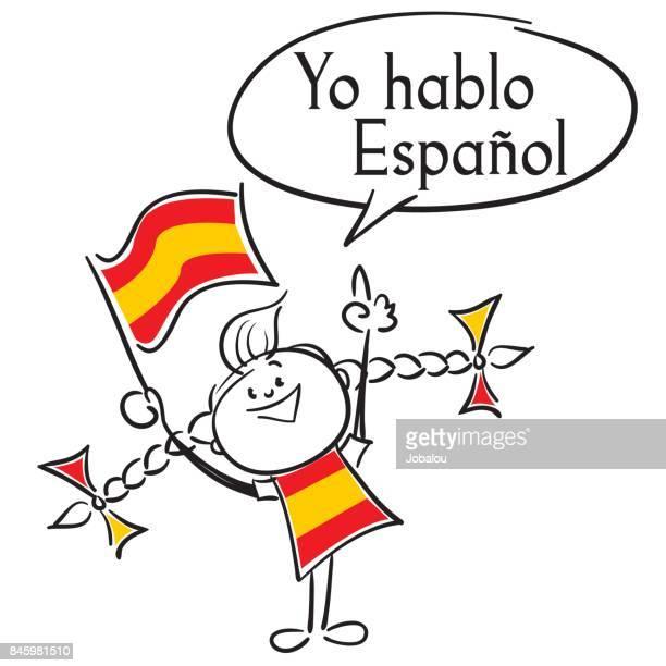 i speak spanish - spanish culture stock illustrations