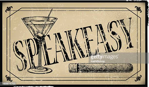 speakeasy sign with cigar and martini glass- retro background - gin stock illustrations, clip art, cartoons, & icons