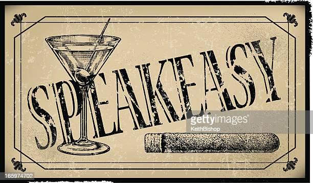 ilustraciones, imágenes clip art, dibujos animados e iconos de stock de speakeasy señal con un habano y martini glass- retro - bar