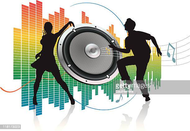 speaker and silhouette of dancer couple - swing dancing stock illustrations