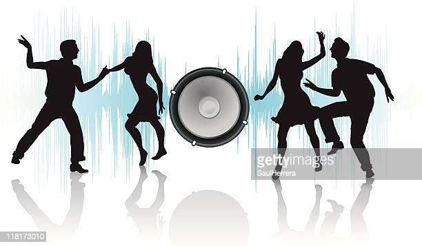 speaker and silhouettes of dancers couples - conga dancing stock illustrations, clip art, cartoons, & icons