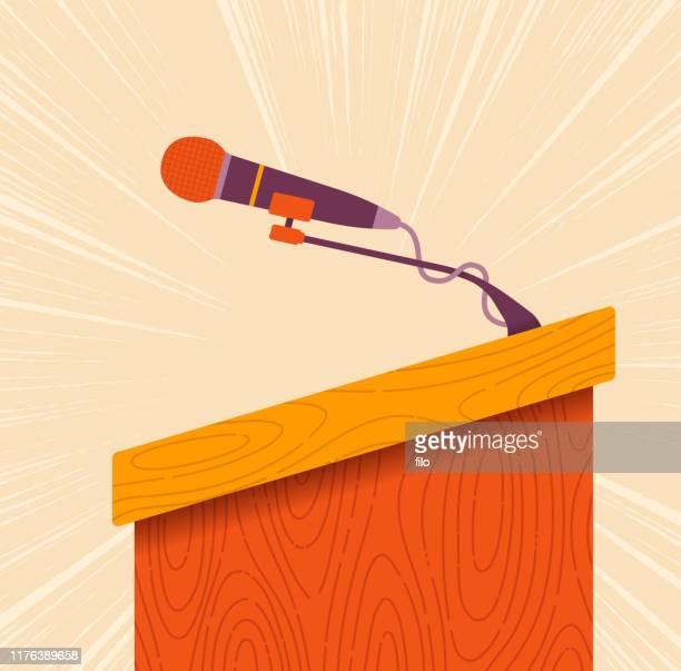 sprecher dais oder lectern - senat stock-grafiken, -clipart, -cartoons und -symbole