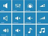 Speaker icons on blue background. Volume control.
