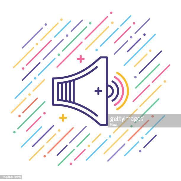 speaker line icon - soundtrack stock illustrations, clip art, cartoons, & icons