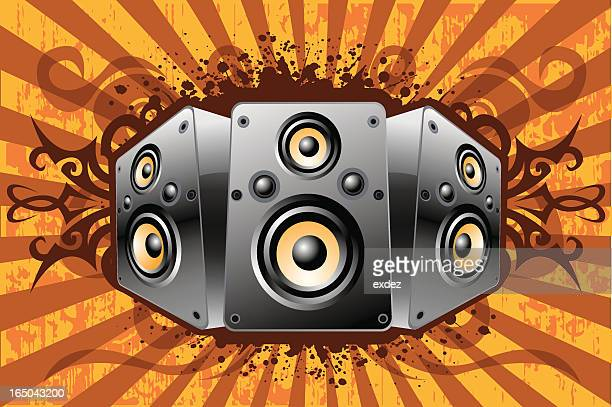 speaker set 1 - bass instrument stock illustrations, clip art, cartoons, & icons