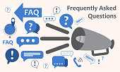 Speaker with a lot of questions exclamation marks. Information exchange theme icon, collect and analyze info. Question  answer. FAQ. Vector
