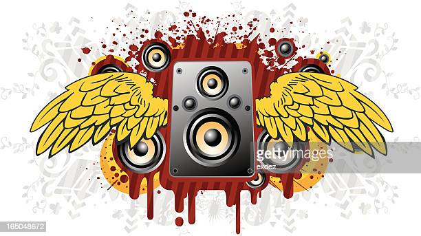 speaker with grunge - bass instrument stock illustrations, clip art, cartoons, & icons