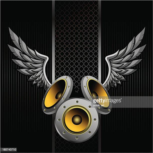 speakerphones with wings against black background - bass instrument stock illustrations, clip art, cartoons, & icons