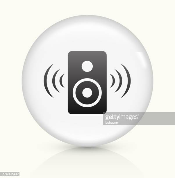 Speakers icon on white round vector button