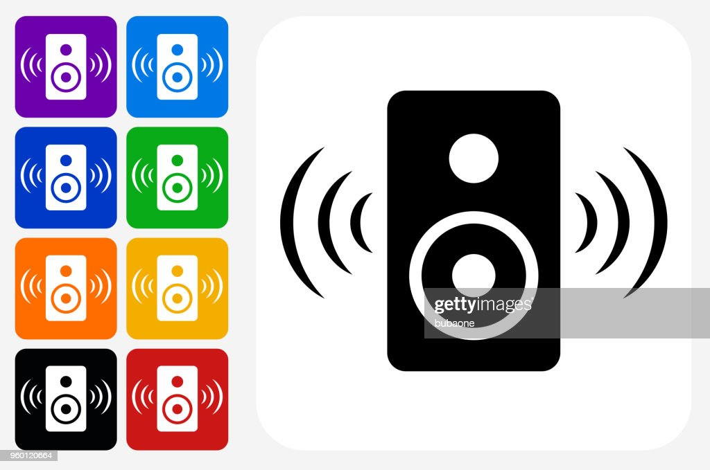 Lautsprecher-Symbol Square Buttonset : Stock-Illustration