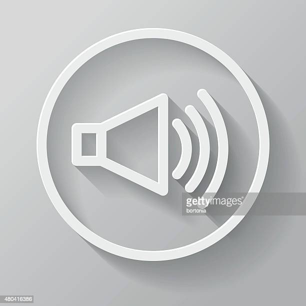 Speakers Paper Thin Line Interface Icon With Long Shadow