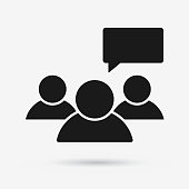 Speaking group of people flat vector icon